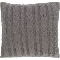 Surya Milton Gray Braid Knitted Throw Pillow MTN002