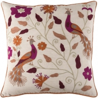 Surya Mayura Beige Nature Embroidered Scandinavian Throw Pillow MUA002