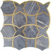Soho Studio MJ Karma Bardiglio and Brass Lines Tile