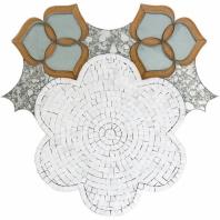 Soho Studio MJ Oleander Thassos, Golden Silver Glass Floral Tile