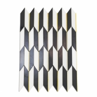 Soho Studio Polarized Brass Line White Thassos Chevron Tile