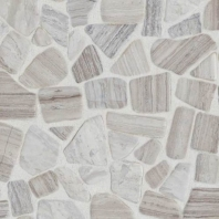 Limestone Chenille White River Pebble Tumbled Mosaic L191