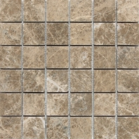 Marble Emperador Light Classic 2x2 Tumbled Mosaic M712