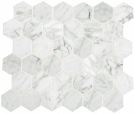 Marble Carrara White 2x2 Hexagon Polished Mosaic M701
