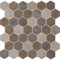 """Limestone Sormonne Brun Blend 2"""" Hexagon Mosaic L351"""