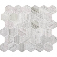 Limestone Chenille White 2 Hexagon Mosaic Honed L191
