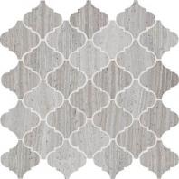 Limestone Chenille White 3x3 Baroque Arabesque Mosaic L191