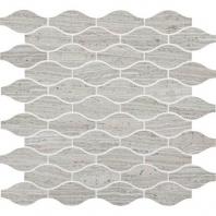 Limestone Chenille White 3x1 1/2 Marquise leaf Mosaic L191
