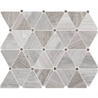 Limestone Chenille White Triangle Polished Mosaic L191