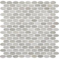 Limestone Chenille White Oval Polished Mosaic L191