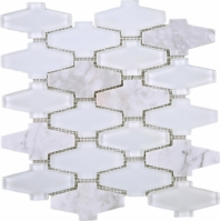 White Glass and Stone Mosaic Tile JCDN1