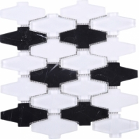 White Black Glass and Stone Mosaic Tile JCDN3