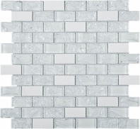 Crushed White Brick Glass and White Marble Mosaic Tile JCES1