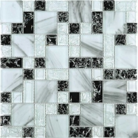 Crushed Ink White and Black Square Glass Mosaic Tile JCES3