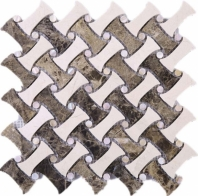 Dark Emperador and Cream Marfil Polished Marble Basketweave Mosaic Tile JCWE3