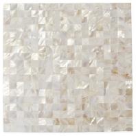 Serene White Squares Seamless Pearl Shell Tile PRLSMLSSQWT
