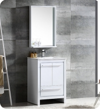 "Fresca Allier 24"" Modern Bathroom Vanity with Mirror in Glossy White"