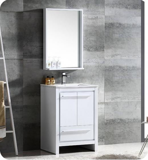 "Fresca Allier 24"" Modern Bathroom Vanity with Mirror in Glossy White"