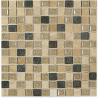 Soho Studio Art Glass Country Series Travertine With 1x1 Deco Crushed Glass Backsplash ARTGSQCNTY1X1