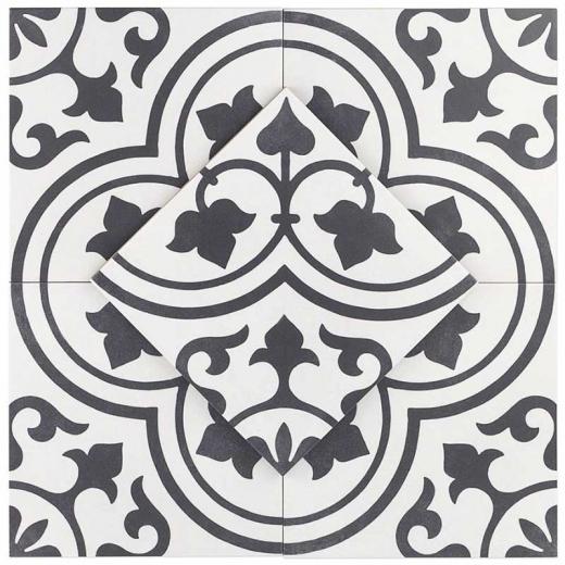 Soho Studio Tlprndhvnornt9x9 White Ornate 9x9 Porcelain Moroccan Tile