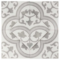 Havana Silver Ornate 9x9 Porcelain Moroccan Tile