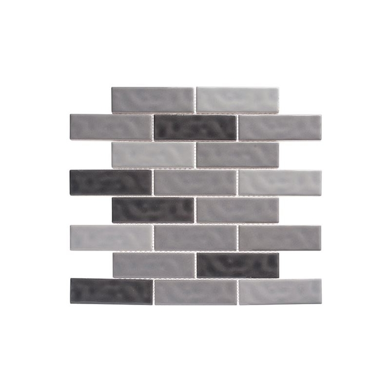 Glass Tile Hry9501 Vintage Gray Brick Interlocking Tile