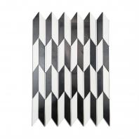 Soho Studio Polarized Chrome Line White Thassos Chevron Tile