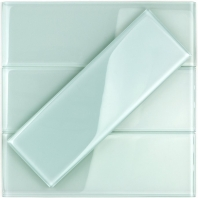 Soho Studio Crystal Series Seafoam 4x12 Polished Subway Glass Backsplash