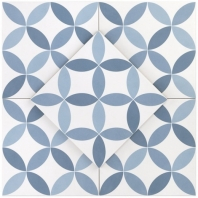 Hampton Floor Deco Steel Blue 8x8 Moroccan Tile TLHRGHMPDCSB8X8