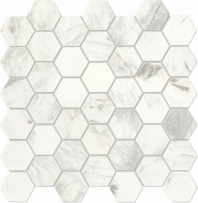 "Raine Stratus White 2"" Hexagon Marble Mosaic"