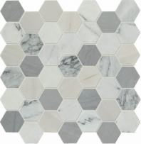 "Raine Cirrus Storm 2"" Hexagon Marble Mosaic"