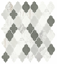 Daltile DA40 Raine Stratus White Blend Arabesque Tile