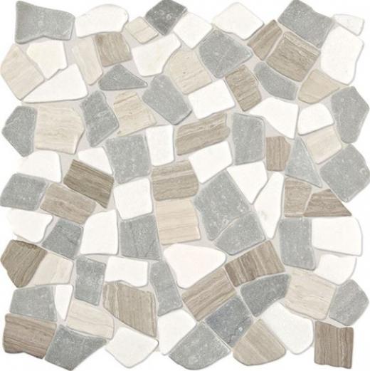 Daltile DA52 Raine Cumulus Grey Blend Pebble Marble Tile