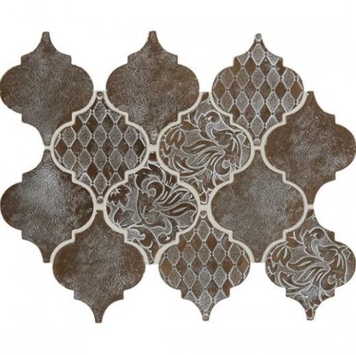 Daltile VM03 Vintage Metals Whitewash Classic Bronze Arabesque Tile