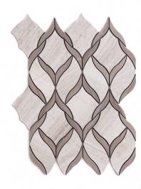 Merola Vine Marble Mosaic Wooden & Athens Grey