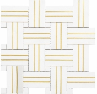 Golden Age Series Mosaic Sun Basketweave Tile GOL462