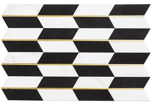 Golden Age Series Luxury Check Geometric Tile GOL463