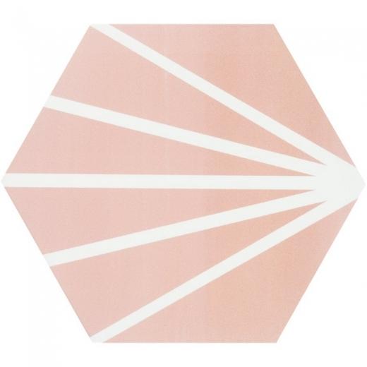 "Aries Rose with Blanco Line 8"" Hexagon Tile TLKRARSROSELN"