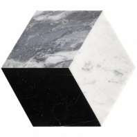 Pari Grigio- Nero Carrara and Bardiglio Honed Hexagon Tile PARIGRIGIO