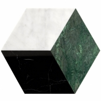 Pari Verde- Nero, Dark Green and Carrara Polished Hexagon Tile PARIVERDE