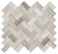 Minute Mosaic Chenille White Herringbone Mosaic Tile