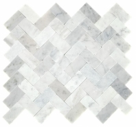 Minute Mosaic Carrara White Herringbone Mosaic Tile