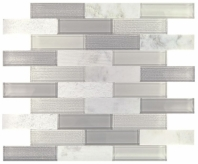 Simply Stick Mosaix Daphne White and Glass Blend Brick Joint Mosaic Tile