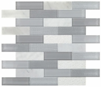 Simply Stick Mosaix Stormy Mist and Glass Blend Brick Joint Mosaic Tile