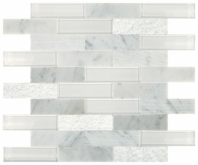 Simply Stick Mosaix Carrara White and Glass Blend Brick Joint Tile