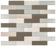 Simply Stick Mosaix Chenille White and Glass Blend Brick Joint Tile
