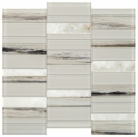 Simply Stick Mosaix Daphne White and Glass Blend Straight Stack Tile