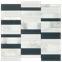 Simply Stick Mosaix Carrara White and Glass Blend Straight Stack Tile