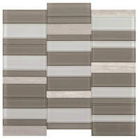 Simply Stick Mosaix Chenille White and Glass Blend Straight Stack Tile