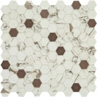 "Uptown Posh Bronze 1"" Hex Mosaic Tile"